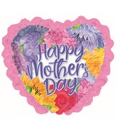 """36"""" Happy Mother's Day Lavender Font Ruffle Foil Balloons"""