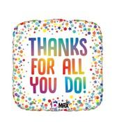 "18"" Max Float Rainbow Thanks Foil Balloon"