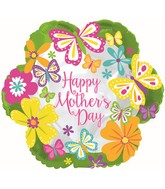 "18"" Happy Mother's Day Butterflies Lime Border Balloon"