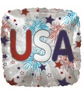 """9"""" Airfill Only USA Fireworks Cube Foil Balloon"""