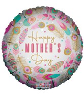 "18"" Happy Mother's Day Feathers Matte Foil Balloon"