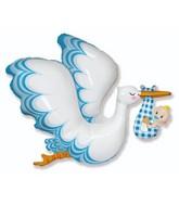 Stork Baby Boy Foil Balloon
