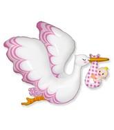 Stork Baby Girl Foil Balloon