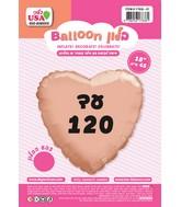 "18"" Until 120 Rose Gold Heart Hebrew Foil Balloon"