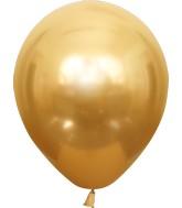 "12"" Kalisan Latex Balloons Mirror Gold (50 Per Bag)"