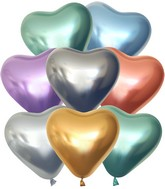 "12"" Kalisan Latex Heart Balloons Mirror Assorted (50 Per Bag)"