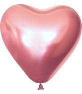 "12"" Kalisan Latex Heart Balloons Mirror Pink (50 Per Bag)"