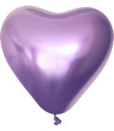 "12"" Kalisan Latex Heart Balloons Mirror Violet (50 Per Bag)"
