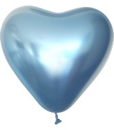 "12"" Kalisan Latex Heart Balloons Mirror Blue (50 Per Bag)"