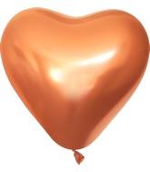 "12"" Kalisan Latex Heart Balloons Mirror Copper (50 Per Bag)"