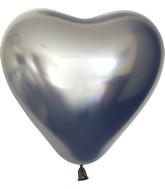 "12"" Kalisan Latex Heart Balloons Mirror Space Grey (50 Per Bag)"
