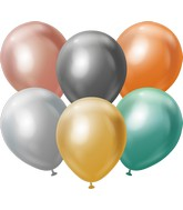 "18"" Kalisan Latex Balloons Mirror Assorted (25 Per Bag)"