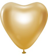 "12"" Kalisan Latex Heart Balloons Mirror Gold (50 Per Bag)"