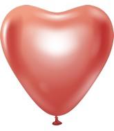"12"" Kalisan Latex Heart Balloons Mirror Red (50 Per Bag)"