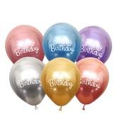 "12"" Mirror Happy Birthday Assorted Latex Balloons (25 Per Bag) 2 Side Print"