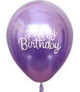 "12"" Mirror Happy Birthday Violet Latex Balloons (25 Per Bag) 2 Side Print"
