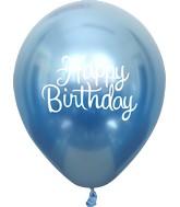 "12"" Mirror Happy Birthday Blue Latex Balloons (25 Per Bag) 2 Side Print"