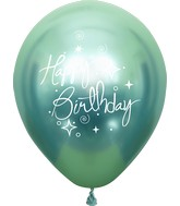 "12"" Mirror Happy Birthday Green Latex Balloons (25 Per Bag) 2 Side Print"