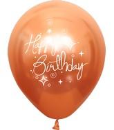"12"" Mirror Happy Birthday Copper Latex Balloons (25 Per Bag) 2 Side Print"