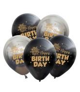 "12"" Mirror Happy Birthday Space Grey Balloon Gold Print Latex Balloons (25 Per Bag) 2 Side Print"