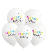 "12"" Happy Birthday White Balloons 5 Color Print Latex Balloons (25 Per Bag)"
