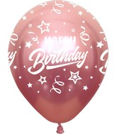 "12"" Mirror Happy Birthday All Around Pink Latex Balloons (25 Per Bag) 5 Side Print"