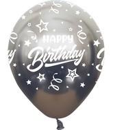 "12"" Mirror Happy Birthday All Around Space Grey Latex Balloons (25 Per Bag) 5 Side Print"