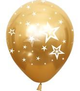 "12"" Mirror Stars All Around Gold Latex Balloons (25 Per Bag) 5 Side Print"