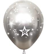 "12"" Mirror Stars All Around Silver Latex Balloons (25 Per Bag) 5 Side Print"
