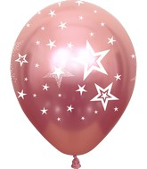 "12"" Mirror Stars All Around Pink Latex Balloons (25 Per Bag) 5 Side Print"