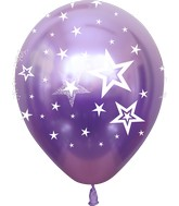 "12"" Mirror Stars All Around Violet Latex Balloons (25 Per Bag) 5 Side Print"
