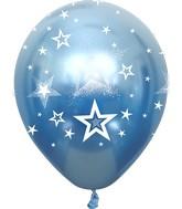 "12"" Mirror Stars All Around Blue Latex Balloons (25 Per Bag) 5 Side Print"