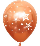 "12"" Mirror Stars All Around Copper Latex Balloons (25 Per Bag) 5 Side Print"