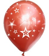 """12"""" Mirror Stars All Around Red Latex Balloons (25 Per Bag) 5 Side Print"""
