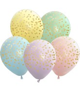 """12"""" Macaron Squares All Around Assorted Gold Print Latex Balloons (25 Per Bag) 5 Side Print"""