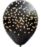 """12"""" Black Squares All Around Assorted Gold Print Latex Balloons (25 Per Bag) 5 Side Print"""