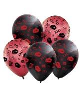 "12"" Assorted Fashion XOXO All Around Latex Balloons (25 Per Bag) 5 Side Print"