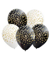 """12"""" Assorted Confetti All Around Latex Balloons (25 Per Bag) 5 Side Print"""