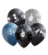 """12"""" Assorted Space All Around Latex Balloons (25 Per Bag) 5 Side Print"""