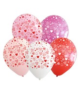 """12"""" Assorted Hearts All Around Latex Balloons (25 Per Bag) 5 Side Print"""