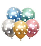 """12"""" Assorted Polka Dots All Around Latex Balloons (25 Per Bag) 5 Side Print"""