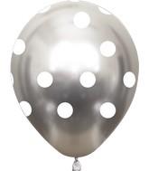 "12"" Metallic Silver Polka Dots All Around Latex Balloons (25 Per Bag) 5 Side Print"