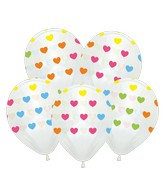"""12"""" Crystal Clear Hearts All Around Latex Balloons (25 Per Bag) 5 Side Print"""