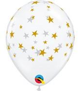 "5"" Latex Balloons Diamond Clear (100 Per Bag) Contemporary Gold Stars"