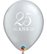 "11"" Latex Balloons Silver (50 Per Bag) 25 Ans"