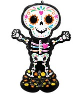 """52"""" Airloonz Consumer Inflatable Day of the Dead Standing Skeleton Foil Balloon"""