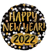 """18"""" Happy New Years 2022 Gold & Silver Sparkles Foil Balloon"""