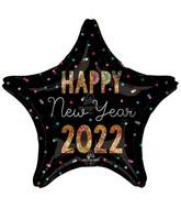 "18"" 2022 Glitter Star Foil Balloon"