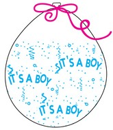 """18"""" Stuffing Balloons (25 Per Bag) Decomex Clear IT'S A BOY with BABY BLUE INK"""