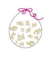 """18"""" Stuffing Balloons (25 Per Bag) Decomex Clear FILIGREE with GOLD INK"""